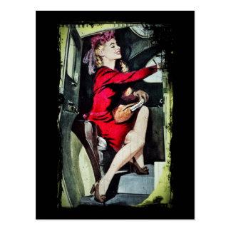 Modern Girl in Nylons Postcard