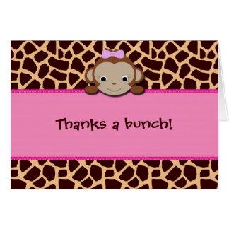 Modern Girl Monkey Thank You [Pink] Card