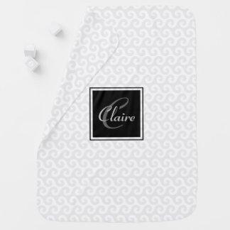 Modern Girl's Monogram Silver White Waves Pattern Baby Blankets