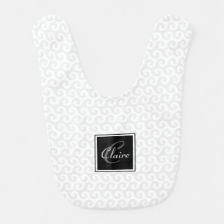 Modern Girl's Monogram Silver White Waves Pattern Bibs