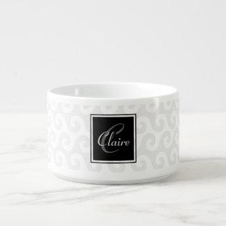 Modern Girl's Monogram Silver White Waves Pattern Chili Bowl