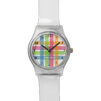 Modern girls watch with colorful pastel stripes