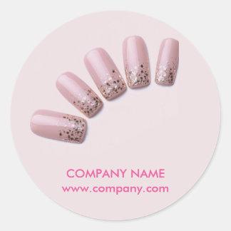 modern girly beauty salon pink nail artist round sticker