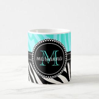Modern Girly Black Aqua Zebra Print Personalized Mug