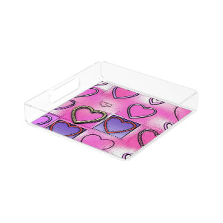 Modern Girly Bright Pink Heart Collage Acrylic Tray