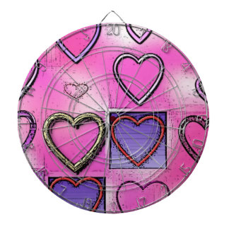 Modern Girly Bright Pink Heart Collage Dartboard