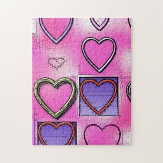 Modern Girly Bright Pink Heart Collage Jigsaw Puzzle