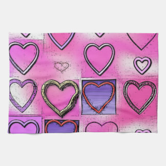 Modern Girly Bright Pink Heart Collage Kitchen Towel
