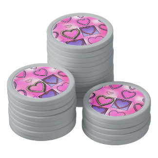 Modern Girly Bright Pink Heart Collage Set Of Poker Chips