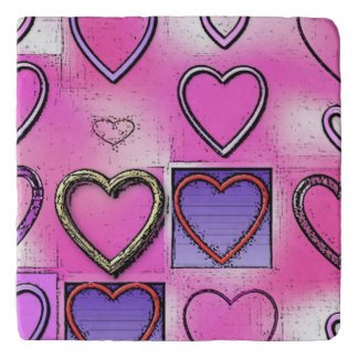 Modern Girly Bright Pink Heart Collage Trivet