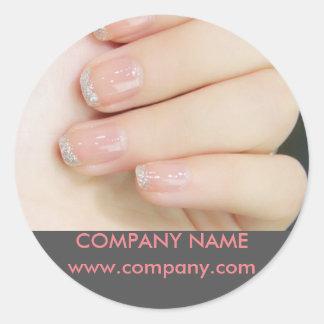 modern girly fashion beauty salon nail artist round sticker