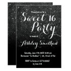 Modern girly faux black glitter ombre Sweet 16 Card