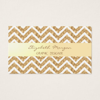Modern Girly  Faux Gold Glittery  Zigzag Chevron Business Card