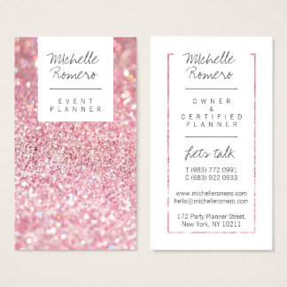 Event planner business cards business card printing zazzle ca modern girly faux pink glitter bokeh event planner business card junglespirit Gallery