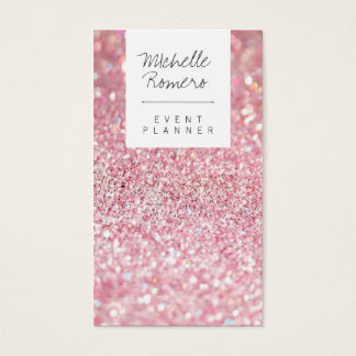 Modern girly faux pink glitter bokeh event planner business card