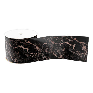 Modern girly faux rose gold foil black marble grosgrain ribbon