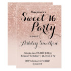 Modern girly faux rose gold glitter ombre Sweet 16 Card