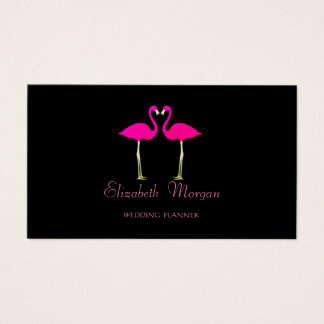 Modern Girly Funny,Pink Flamingos In Love,Black Business Card