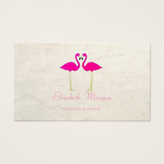 Modern Girly Funny,Pink Flamingos In Love Business Card