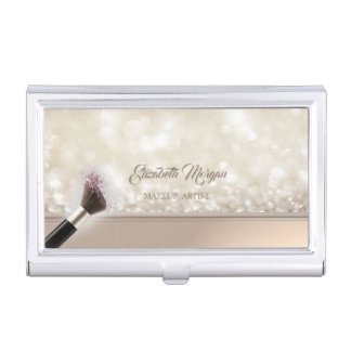 Modern Girly  Glittery,Bokeh,Makeup Brush Business Card Holder