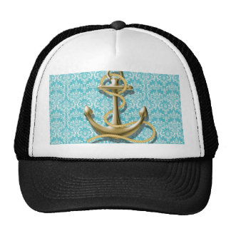 modern girly gold anchor teal damask nautical trucker hat