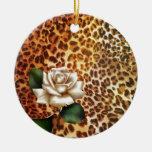 Modern girly leopard print white rose ornaments