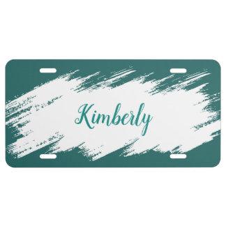 Modern Girly Monogram Design License Plate