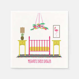 Modern Girly Nursery Baby Shower Disposable Napkins