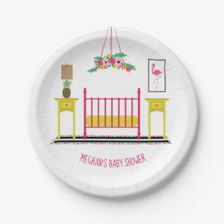 Modern Girly Nursery Baby Shower Paper Plate