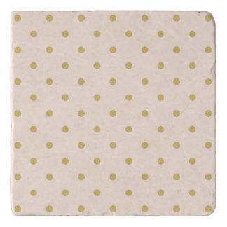 Modern Girly Pink and Gold Polka Dots Pattern Trivet