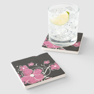 Modern Girly Pink and White Flowers Stone Coaster