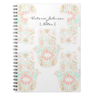 Modern girly pink mint gold Hamsa hand of fatima Notebooks