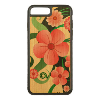 Modern Girly Pink Tropical Hibiscus Floral Wooden Carved iPhone 8 Plus/7 Plus Case