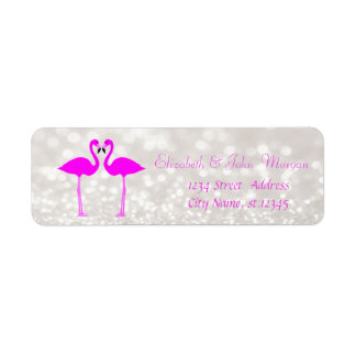 Modern Girly Stylish Glittery Bokeh,Pink Flamingos Return Address Label