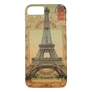 modern girly swirls pattern vintage eiffel tower iPhone 8/7 case