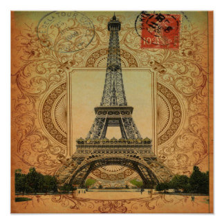 modern girly swirls vintage paris eiffel tower poster