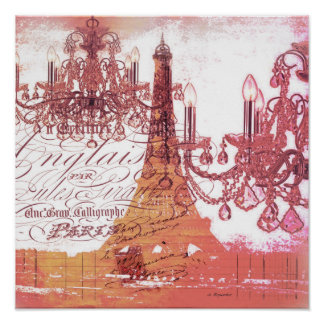 modern girly vintage chandelier paris eiffel tower poster