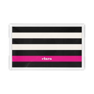 Modern Glam Black, Cream & Fuchsia Stripe Serving Tray