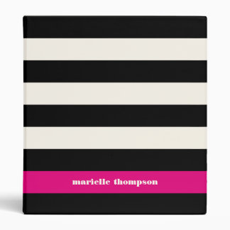 Modern Glam Black, Cream & Fuchsia Stripe Vinyl Binder