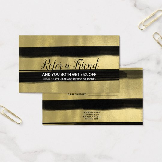 Modern Glam Black & Gold Brush Refer a Friend Business Card