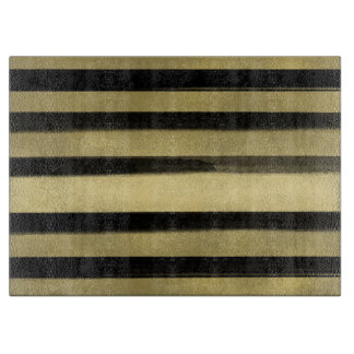 Modern Glam Black & Gold Brush Stroke Stripe Chic Boards