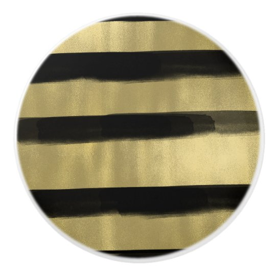 Modern Glam Black & Gold Brush Stroke Stripe Chic Ceramic Knob