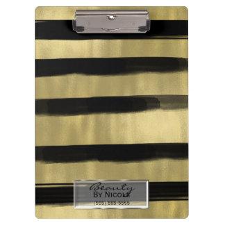Modern Glam Black & Gold Brush Stroke Stripe Chic Clipboard