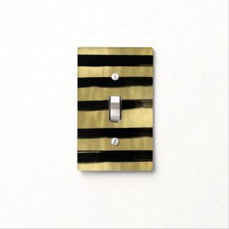 Modern Glam Black & Gold Brush Stroke Stripe Chic Light Switch Cover