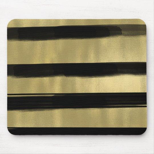 Modern Glam Black & Gold Brush Stroke Stripe Chic Mouse Pad