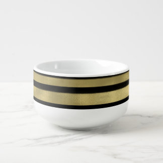 Modern Glam Black & Gold Brush Stroke Stripe Chic Soup Mug