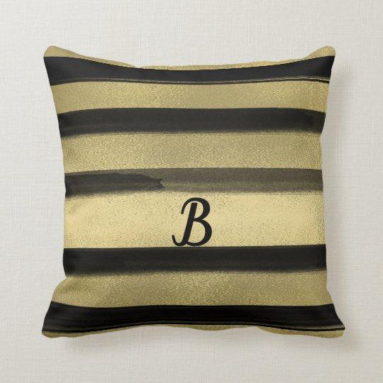 Modern Glam Black & Gold Brush Stroke Stripe Chic Throw Pillow