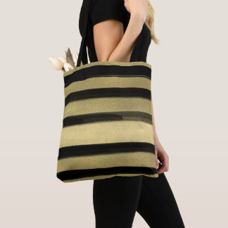 Modern Glam Black & Gold Brush Stroke Stripe Chic Tote Bag