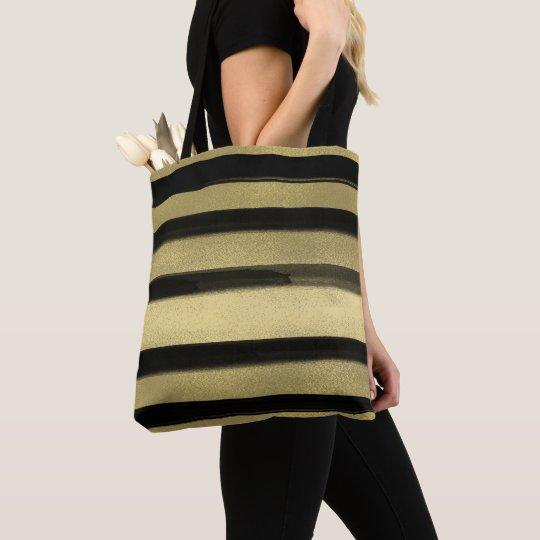 Modern Glam Black & Gold Brush Stroke Stripe Chic Tote Bag