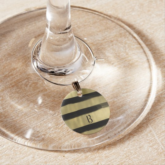 Modern Glam Black & Gold Brush Stroke Stripe Chic Wine Charm